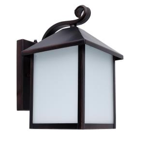 Emily Six-Inch Energy Star One-Light Outdoor Light, Oil Rubbed Bronze with Frosted White Glass