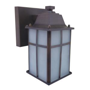 Jordan Five-Inch One-Light Outdoor Light, Oil Rubbed Bronze with Frosted Glass