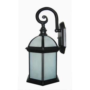 Tyler Seven-Inch One-Light Outdoor Light, Black with Frosted Glass