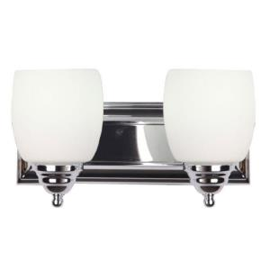 Shantal Eleven-Inch Two-Light Vanity, Chrome with White Glass