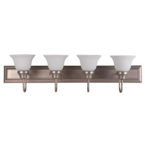 Karly Thirty Six-Inch Four-Light Vanity, Satin Nickel with White Glass
