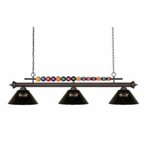 Shark - 3 Light Island/Billiard in Billiard Style - 14 Inches Wide by 15 Inches High