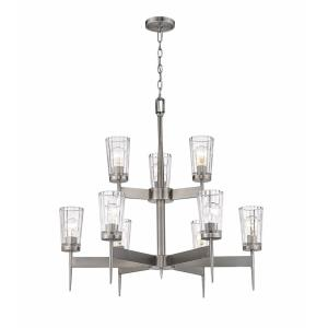 Flair - 9 Light Chandelier in Sleek Style - 31 Inches Wide by 30.25 Inches High