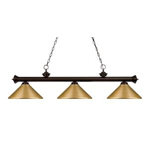 Riviera - 3 Light Island/Billiard in Craftsman Style - 16 Inches Wide by 16 Inches High
