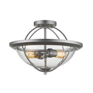 Persis - 2 Light Semi-Flush Mount in Metropolitan Style - 15 Inches Wide by 10.75 Inches High