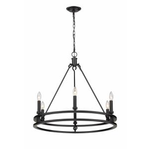 Dennison - 6 Light Chandelier in Crystal Style - 27.25 Inches Wide by 25.75 Inches High