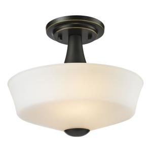 Montego - 2 Light Semi-Flush Mount in Fusion Style - 12 Inches Wide by 9.75 Inches High