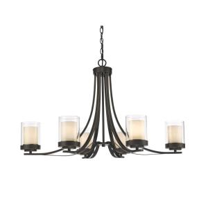 Willow - 6 Light Chandelier in Metropolitan Style - 35.25 Inches Wide by 22.25 Inches High