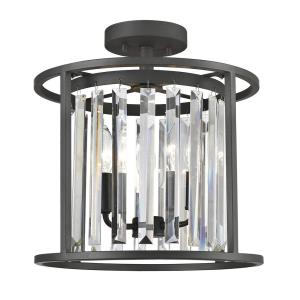 Monarch - 3 Light Semi-Flush Mount in Contemporary Style - 13.75 Inches Wide by 14.5 Inches High