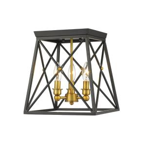 Trestle - 3 Light Flush Mount in Industrial Restoration Style - 11 Inches Wide by 12 Inches High