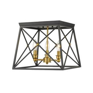 Trestle - 3 Light Flush Mount in Architectural Style - 14 Inches Wide by 12 Inches High
