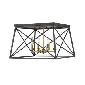 Trestle - 4 Light Flush Mount in Industrial Restoration Style - 18 Inches Wide by 12 Inches High