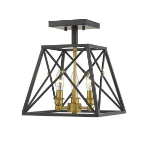 Trestle - 3 Light Semi-Flush Mount in Coastal Style - 11 Inches Wide by 14 Inches High