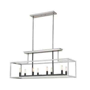 Quadra - 8 Light Island/Billiard in Linear Style - 12 Inches Wide by 17 Inches High