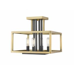 Quadra - 4 Light Semi-Flush Mount in Linear Style - 12 Inches Wide by 12 Inches High