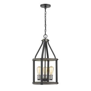 Kirkland - 3 Light Pendant in Restoration Style - 12 Inches Wide by 24 Inches High