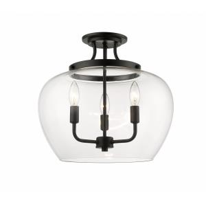 Joliet - 3 Light Semi-Flush Mount in Restoration Style - 15.75 Inches Wide by 14 Inches High