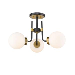 Parsons - 3 Light Semi-Flush Mount in Retro Style - 22 Inches Wide by 14 Inches High