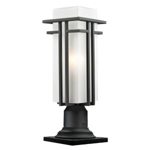 Abbey - 1 Light Outdoor Pier Mount Lantern in Art Deco Style - 6.63 Inches Wide by 19.25 Inches High