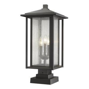 """Aspen - 24.37"""" Three Light Outdoor Pier Mount Post Lantern"""