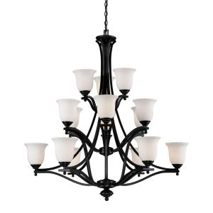 Lagoon 3 Tier Chandelier 15 Light  Steel