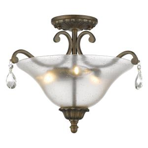 Melina - 3 Light Semi-Flush Mount in Traditional Style - 17.5 Inches Wide by 12.5 Inches High
