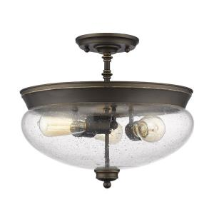 Amon - 3 Light Semi-Flush Mount in Vintage Style - 15 Inches Wide by 13.5 Inches High