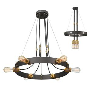 Troubadour - 6 Light Chandelier in Architectural Style - 24 Inches Wide by 2.5 Inches High