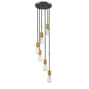 Troubadour - 6 Light Pendant in Architectural Style - 10 Inches Wide by 3 Inches High