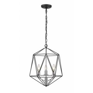 Geo - 3 Light Chandelier in Geometric Architectural Style - 14.25 Inches Wide by 17.75 Inches High