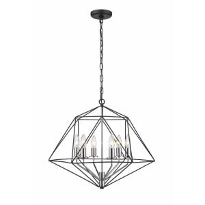 Geo - 6 Light Chandelier in Geometric Architectural Style - 22.25 Inches Wide by 19.25 Inches High