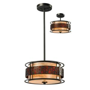 Oak Park - 3 Light Pendant in Tiffany Style - 14 Inches Wide by 54 Inches High